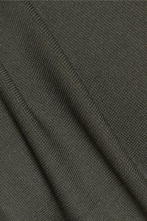 DION LEE Cutout stretch-knit turtleneck mini dress