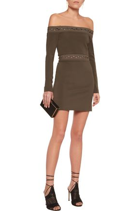 DION LEE Off-the-shoulder jersey mini dress