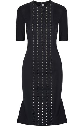 DION LEE Aperture Swarovski crystal-embellished tech-jersey dress