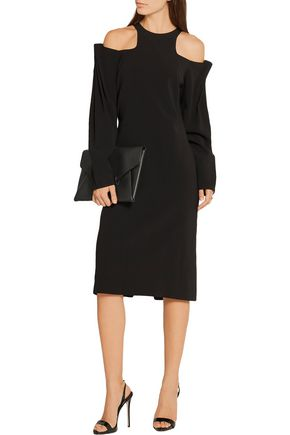 DION LEE Cold-shoulder ruched crepe dress