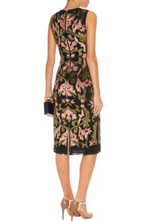 ALICE + OLIVIA Embellished flocked tulle midi dress