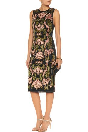 ALICE + OLIVIA Embellished flocked tulle midi dress