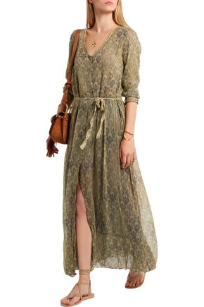 MES DEMOISELLES Fougere printed crinkled-georgette maxi dress