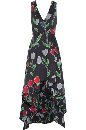 ALICE + OLIVIA Beckie asymmetric printed cotton-blend dress