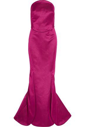 ZAC POSEN Strapless double-faced duchesse silk-satin gown