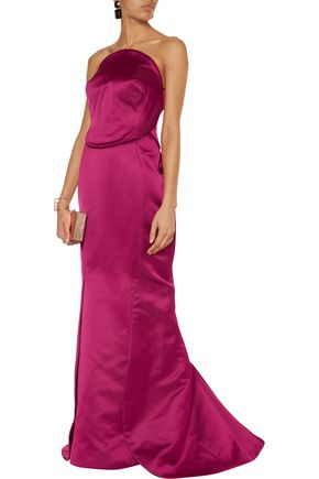 ZAC POSEN Strapless double-faced duchesse silk-satin gown