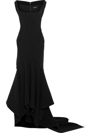 ZAC POSEN Fluted draped crepe gown