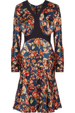 ZAC POSEN Scuba-trimmed floral-print silk-charmeuse dress
