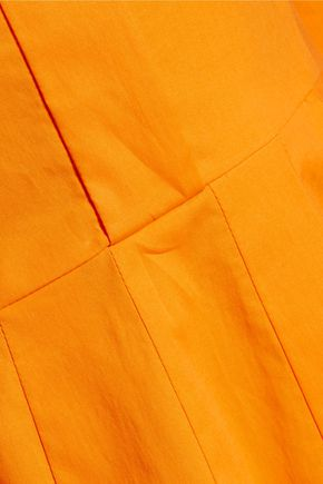 OSCAR DE LA RENTA Pleated cotton-blend poplin dress