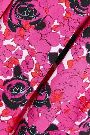 OSCAR DE LA RENTA Pleated floral-print cotton-blend dress
