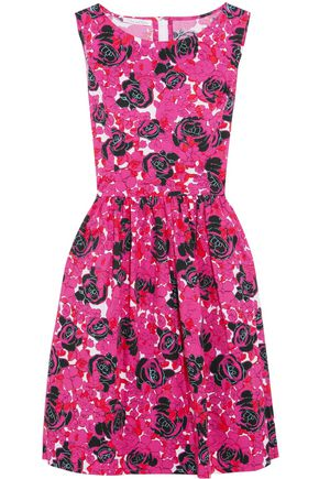 OSCAR DE LA RENTA Pleated floral-print cotton-blend dress