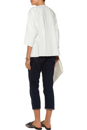 OSCAR DE LA RENTA Zip-detailed cotton-blend poplin top