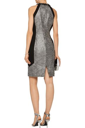 BADGLEY MISCHKA Winter embellished metallic bouclé-tweed and crepe dress