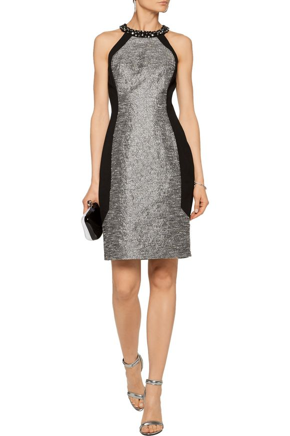Winter embellished metallic bouclé-tweed and crepe dress | BADGLEY MISCHKA  | Sale up to 70% off | THE OUTNET