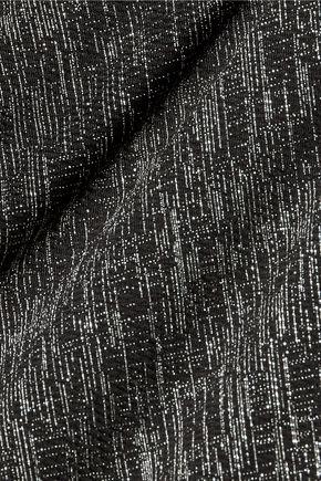BADGLEY MISCHKA Winnie cutout metallic matelassé dress
