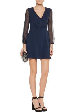 ALICE + OLIVIA Cary silk-chiffon and silk-blend crepe de chine mini dress