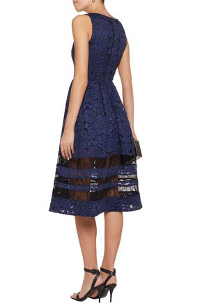ALICE + OLIVIA Corded lace midi dress