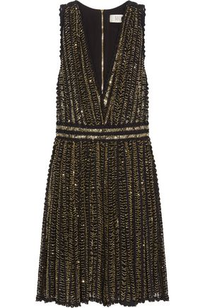 BADGLEY MISCHKA Beaded crocheted cotton mini dress