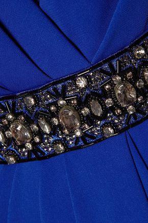 BADGLEY MISCHKA Crystal and bead-embellished draped crepe dress