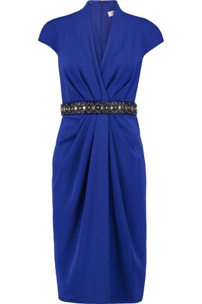 BADGLEY MISCHKA Crystal and bead-embellished draped crepe dress