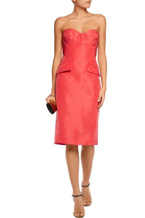 ZAC POSEN Strapless silk-faille dress