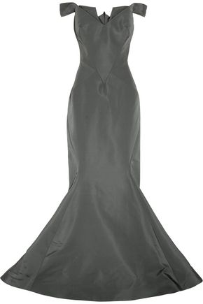 ZAC POSEN Off-the-shoulder silk-faille gown