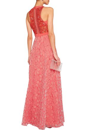 BADGLEY MISCHKA Embellished tulle, crepe and organza gown