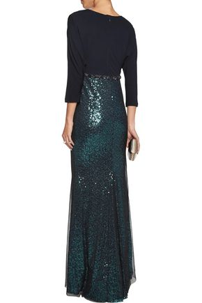BADGLEY MISCHKA Embellished crepe gown