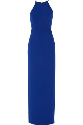 BADGLEY MISCHKA Mesh-paneled twist-front crepe gown