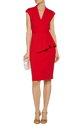 BADGLEY MISCHKA Pleated wrap-effect cady dress