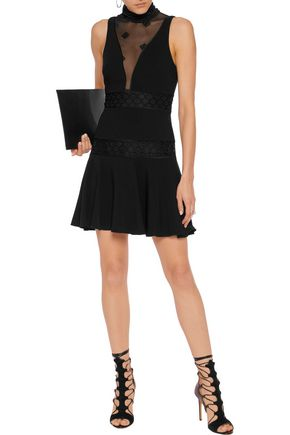 CINQ À SEPT Concordia mesh and lace-paneled stretch-crepe mini dress