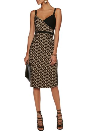 CINQ À SEPT Sera printed twill and lace dress