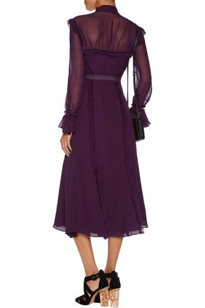 CINQ À SEPT Senna frayed ruffled silk-chiffon midi dress