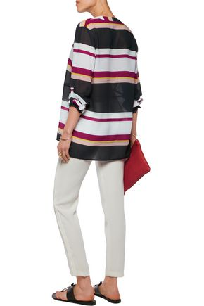 RAOUL Holiday striped georgette blouse