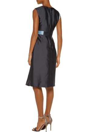 RAOUL Raine color-block wool and silk-blend satin mini dress
