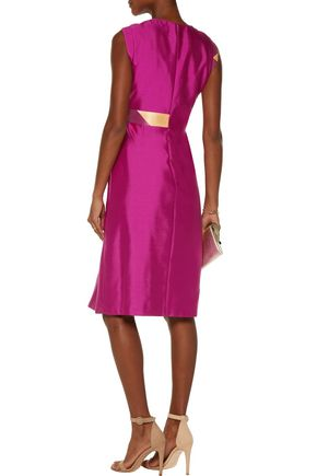 RAOUL Raine printed twill-paneled wool and silk-blend dress
