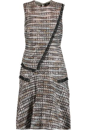 RAOUL Ellery draped metallic tweed mini dress