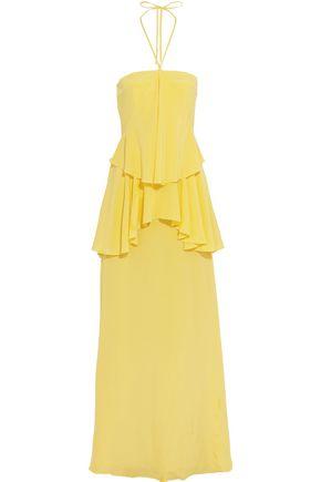 RAOUL Cascade tiered silk-satin halterneck gown