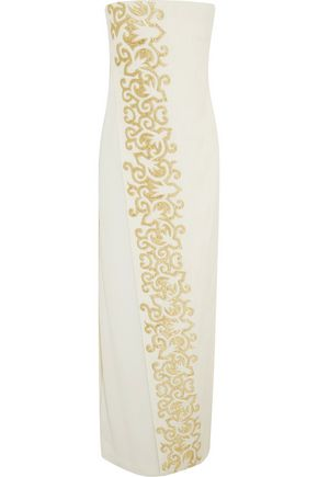 TORY BURCH Juliette strapless embroidered linen-blend gown