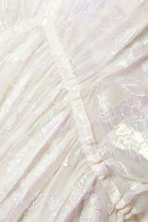 TORY BURCH Casey metallic fil coupé tulle midi dress