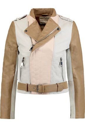MAJE Color-block textured-leather jacket