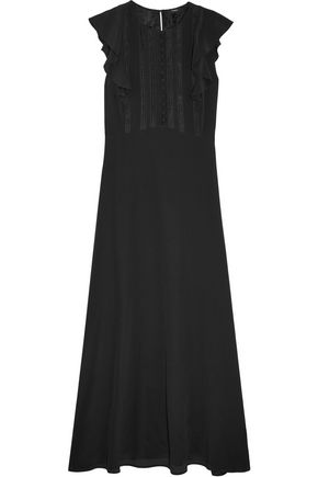 THEORY Gegely lace-trimmed ruffled silk crepe de chine maxi dress