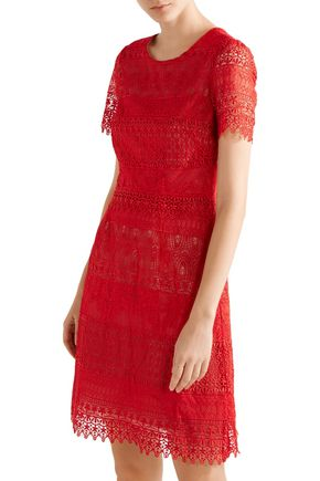 MARCHESA NOTTE Guipure lace mini dress