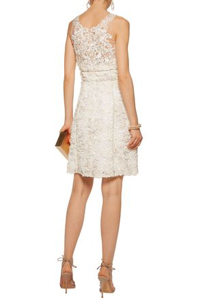 MARCHESA NOTTE Embellished emmbroidered gauze and organza mini dress