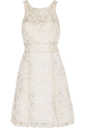 MARCHESA NOTTE Metallic embellished tulle and gauze mini dress