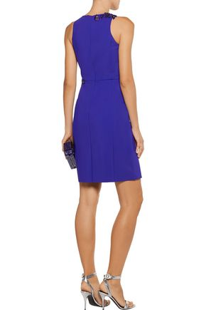 MARCHESA NOTTE Ruffled appliquéd stretch-cady dress