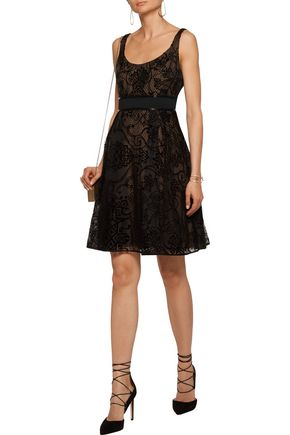 MARCHESA NOTTE Flocked silk-tulle dress