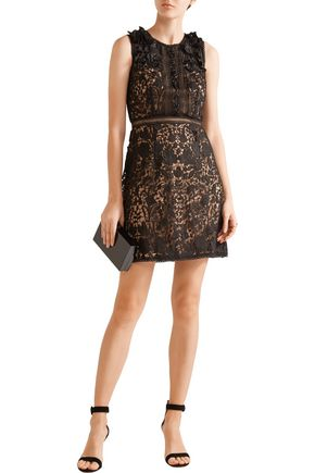 MARCHESA NOTTE Embellished guipure lace mini dress