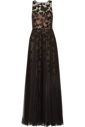 MARCHESA NOTTE Pleated embroidered tulle gown