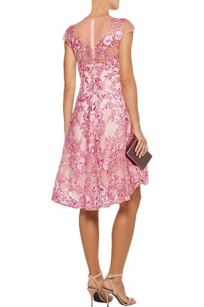 MARCHESA NOTTE Embroidered metallic tulle mini dress